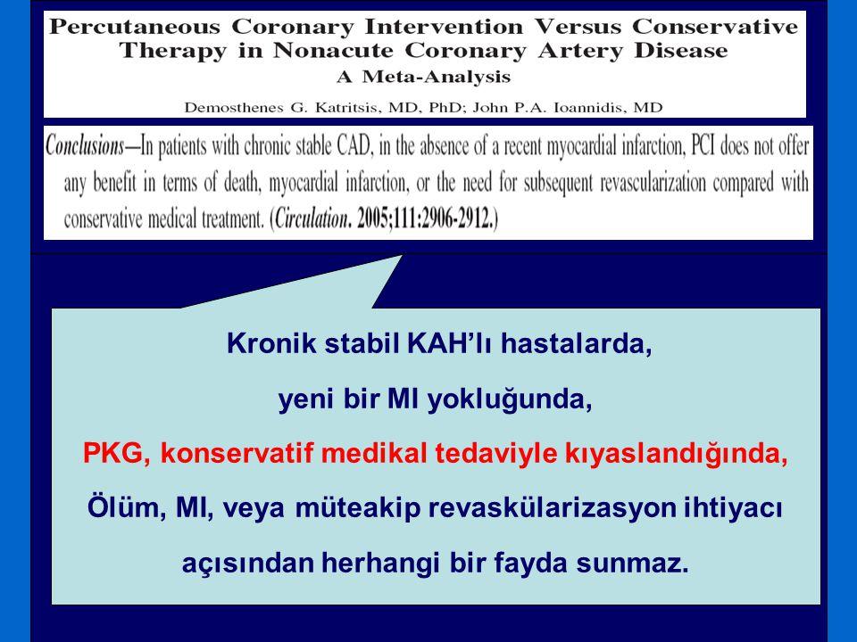 Kronik stabil KAH'lı hastalarda, yeni bir MI yokluğunda, PKG, konservatif medikal tedaviyle kıyaslandığında, Ölüm, MI, veya müteakip revaskülarizasyon