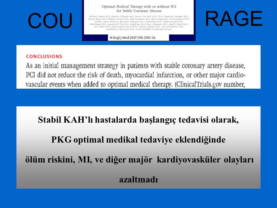 Stabil KAH'lı hastalarda başlangıç tedavisi olarak, PKG optimal medikal tedaviye eklendiğinde ölüm riskini, MI, ve diğer majör kardiyovasküler olaylar