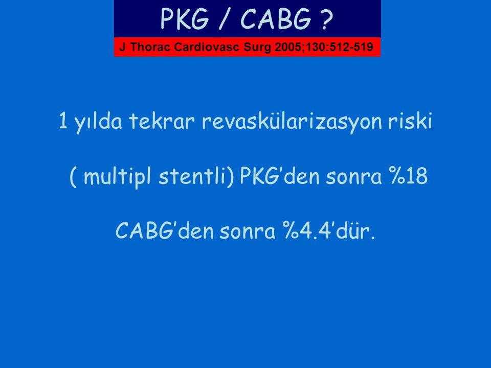 1 yılda tekrar revaskülarizasyon riski ( multipl stentli) PKG'den sonra %18 CABG'den sonra %4.4'dür. PKG / CABG ? J Thorac Cardiovasc Surg 2005;130:51