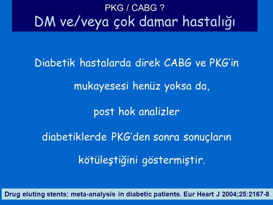 PKG / CABG ? DM ve/veya çok damar hastalığı Diabetik hastalarda direk CABG ve PKG'in mukayesesi henüz yoksa da, post hok analizler diabetiklerde PKG'd