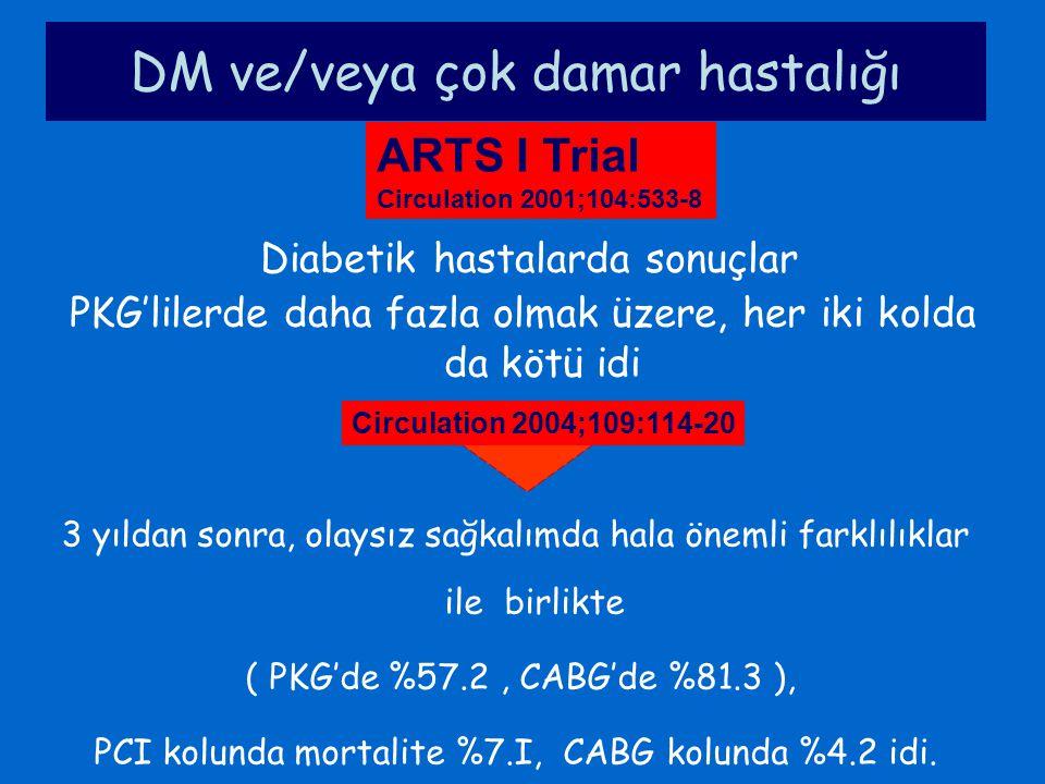 DM ve/veya çok damar hastalığı Diabetik hastalarda sonuçlar PKG'lilerde daha fazla olmak üzere, her iki kolda da kötü idi ARTS I Trial Circulation 200