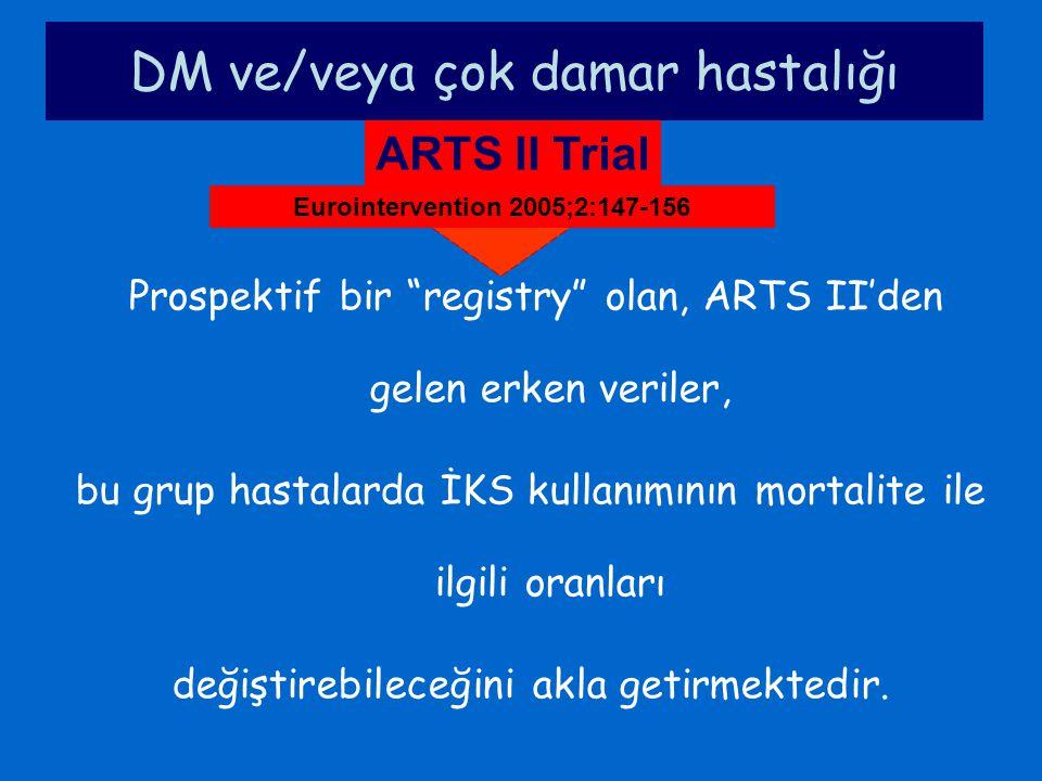 """DM ve/veya çok damar hastalığı ARTS II Trial Prospektif bir """"registry"""" olan, ARTS II'den gelen erken veriler, bu grup hastalarda İKS kullanımının mort"""