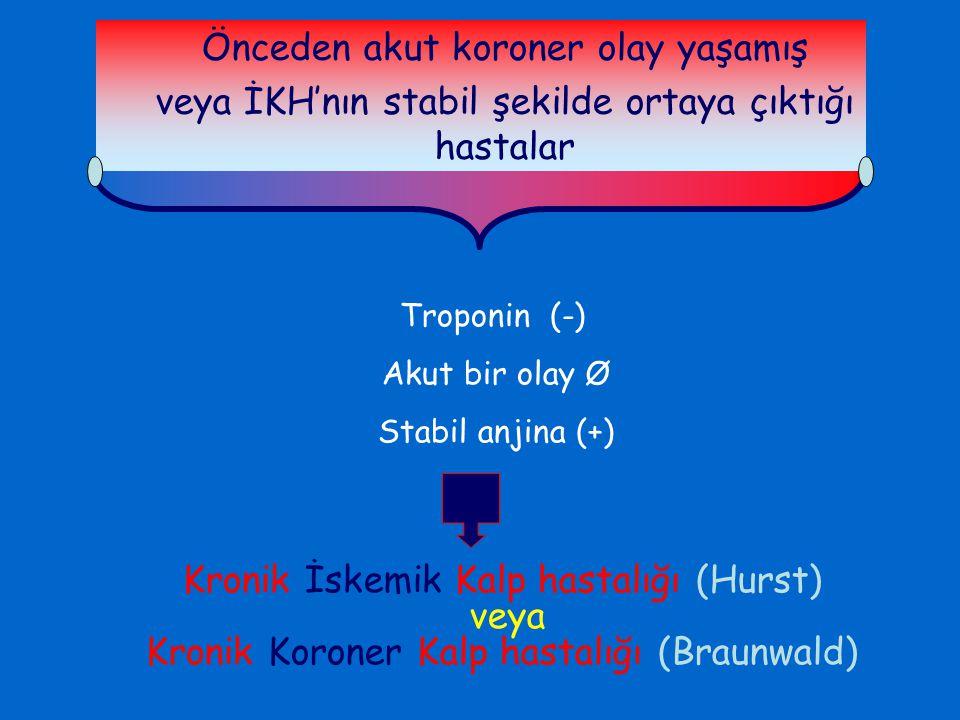 Troponin (-) Akut bir olay Ø Stabil anjina (+) Kronik İskemik Kalp hastalığı (Hurst) veya Kronik Koroner Kalp hastalığı (Braunwald) Önceden akut koron