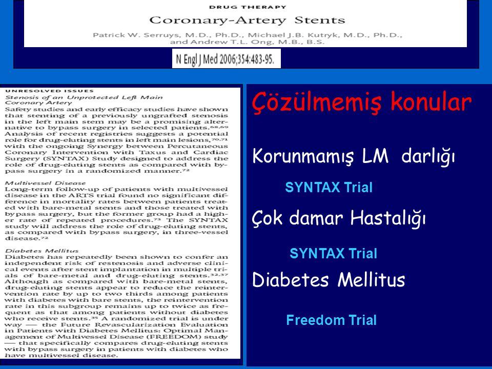 Çözülmemiş konular Korunmamış LM darlığı Çok damar Hastalığı Diabetes Mellitus SYNTAX Trial Freedom Trial SYNTAX Trial