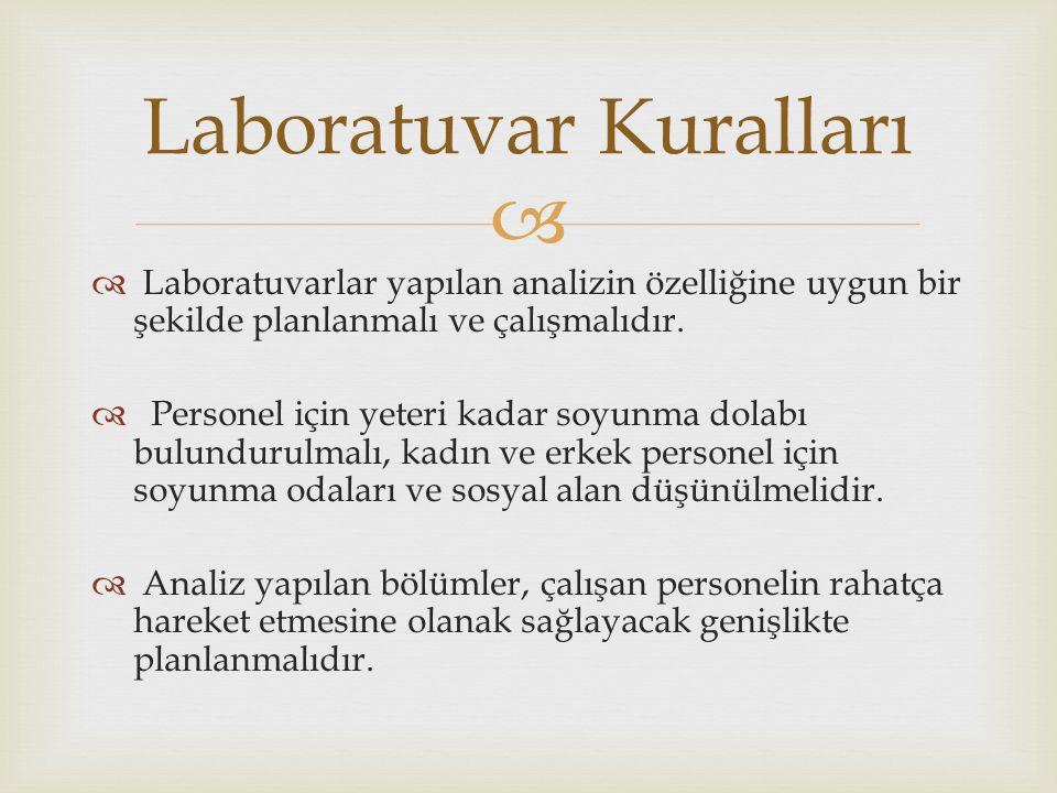   Laboratuvarlar yapılan analizin özelliğine uygun bir şekilde planlanmalı ve çalışmalıdır.  Personel için yeteri kadar soyunma dolabı bulundurulma