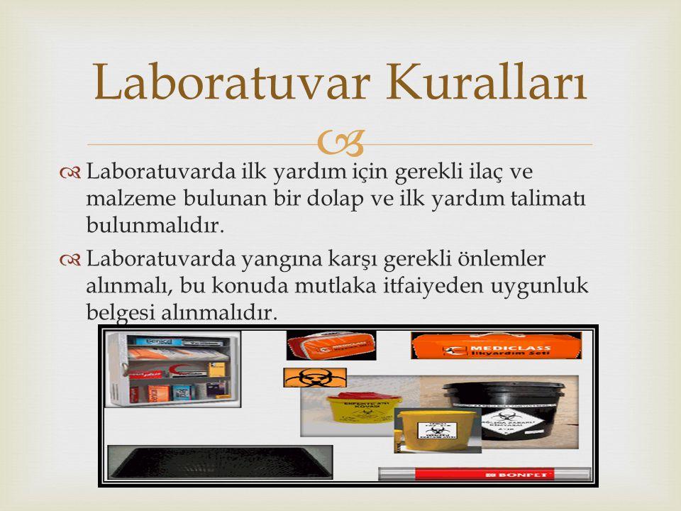   Laboratuvarda ilk yardım için gerekli ilaç ve malzeme bulunan bir dolap ve ilk yardım talimatı bulunmalıdır.  Laboratuvarda yangına karşı gerekli