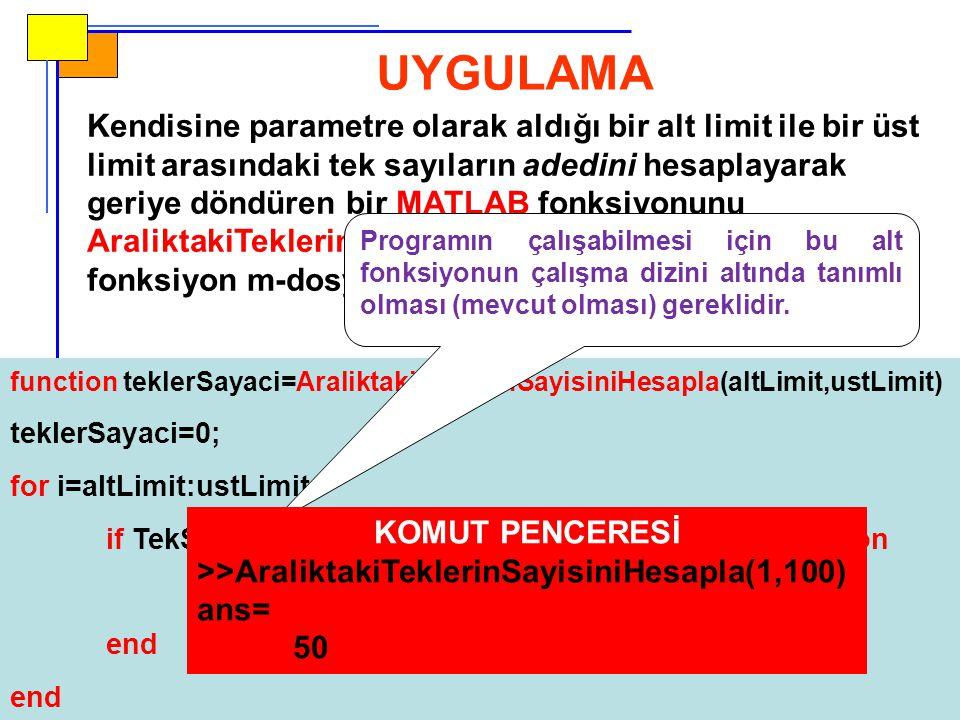return Komutu  Yazdığınız MATLAB programını herhangi bir anda (programın normalde sona erdiği noktanın haricinde - early termination) sona erdirmek için return komutunu kullanabilirsiniz.
