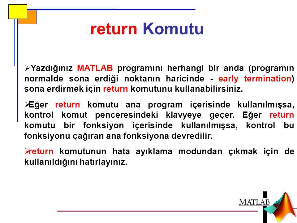 return Komutu  Yazdığınız MATLAB programını herhangi bir anda (programın normalde sona erdiği noktanın haricinde - early termination) sona erdirmek i