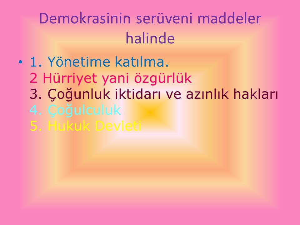 DEMOKRASİNİN SERÜVENİ İLE İLGİLİ ŞİİR Demokrasi; Hürriyetin adresi Cumhuriyetin metresi On lira iken toptancıda sandıklar, arkası yarın diyordu demokrasi; krallık tarifesi Türkiye m, masallar diyarı burası kim kimi öcüleştirirse korku, deli Dumrullar doğuruyordu Demokrasi; Halkın adresi 'Celal oğlan' ağıtına oynarken Ankara türküsüne ağlayanlar Sevdasını, Platonikçe yoğuruyordu demokrasi; özgürlüğün adresi ben özgürsem, senin olsun yarınlarım,faili meçhullerde yarsuad, ipin ucu karagözün elinde diyordu
