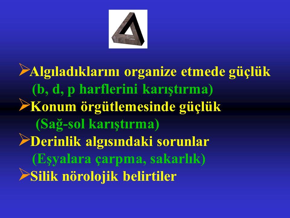 Ø Algıladıklarını organize etmede güçlük (b, d, p harflerini karıştırma) Ø Konum örgütlemesinde güçlük (Sağ-sol karıştırma) Ø Derinlik algısındaki sorunlar (Eşyalara çarpma, sakarlık) Ø Silik nörolojik belirtiler