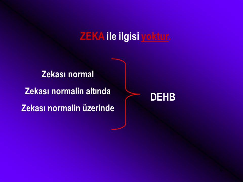 8 ZEKA ile ilgisi yoktur. Zekası normal Zekası normalin altında Zekası normalin üzerinde DEHB