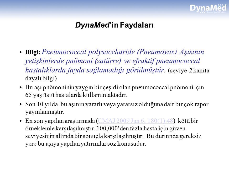 DynaMed'in Faydaları Bilgi: Pneumococcal polysaccharide (Pneumovax) Aşısının yetişkinlerde pnömoni (zatürre) ve efraktif pneumococcal hastalıklarda fayda sağlamadığı görülmüştür.