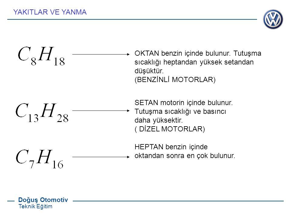Doğuş Otomotiv Teknik Eğitim OKTAN benzin içinde bulunur. Tutuşma sıcaklığı heptandan yüksek setandan düşüktür. (BENZİNLİ MOTORLAR) SETAN motorin için