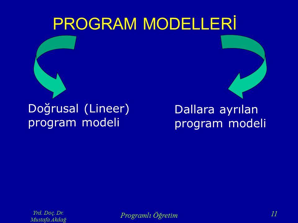 Yrd. Doç. Dr. Mustafa Akdağ Programlı Öğretim 11 PROGRAM MODELLERİ Doğrusal (Lineer) program modeli Dallara ayrılan program modeli