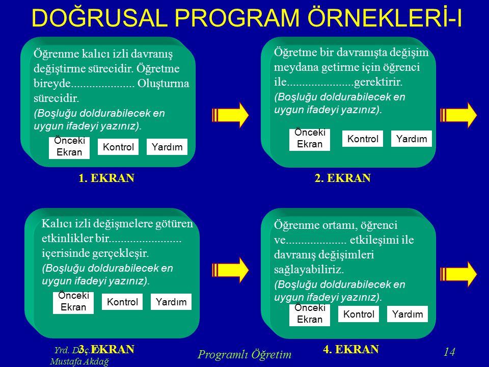 Yrd. Doç. Dr. Mustafa Akdağ Programlı Öğretim 14 Öğrenme kalıcı izli davranış değiştirme sürecidir. Öğretme bireyde..................... Oluşturma sür