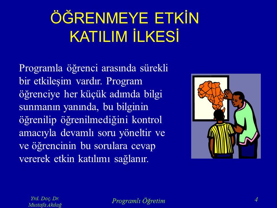 Yrd. Doç. Dr. Mustafa Akdağ Programlı Öğretim 4 ÖĞRENMEYE ETKİN KATILIM İLKESİ Programla öğrenci arasında sürekli bir etkileşim vardır. Program öğrenc