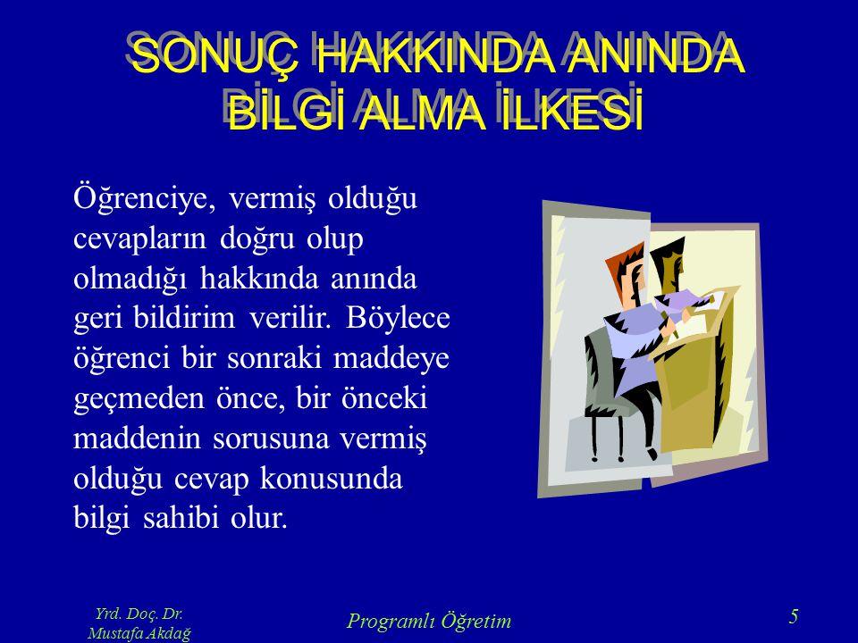 Yrd. Doç. Dr. Mustafa Akdağ Programlı Öğretim 5 SONUÇ HAKKINDA ANINDA BİLGİ ALMA İLKESİ Öğrenciye, vermiş olduğu cevapların doğru olup olmadığı hakkın