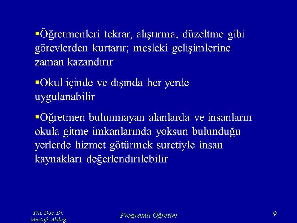 Yrd. Doç. Dr. Mustafa Akdağ Programlı Öğretim 9  Öğretmenleri tekrar, alıştırma, düzeltme gibi görevlerden kurtarır; mesleki gelişimlerine zaman kaza