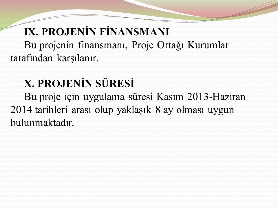 IX.PROJENİN FİNANSMANI Bu projenin finansmanı, Proje Ortağı Kurumlar tarafından karşılanır.