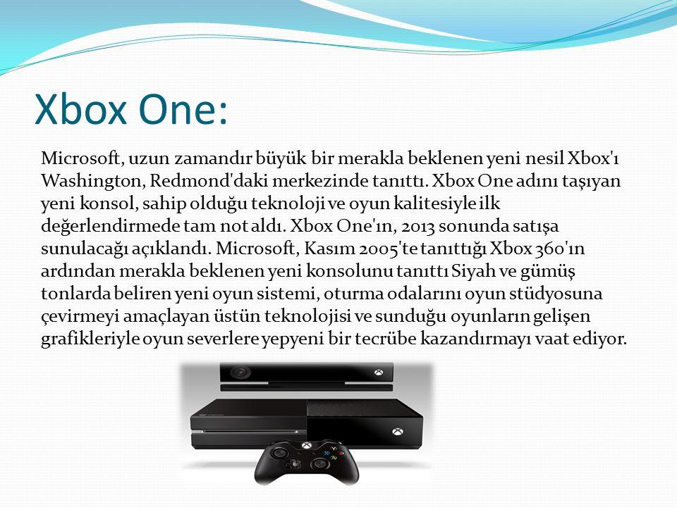 Xbox One: Microsoft, uzun zamandır büyük bir merakla beklenen yeni nesil Xbox'ı Washington, Redmond'daki merkezinde tanıttı. Xbox One adını taşıyan ye