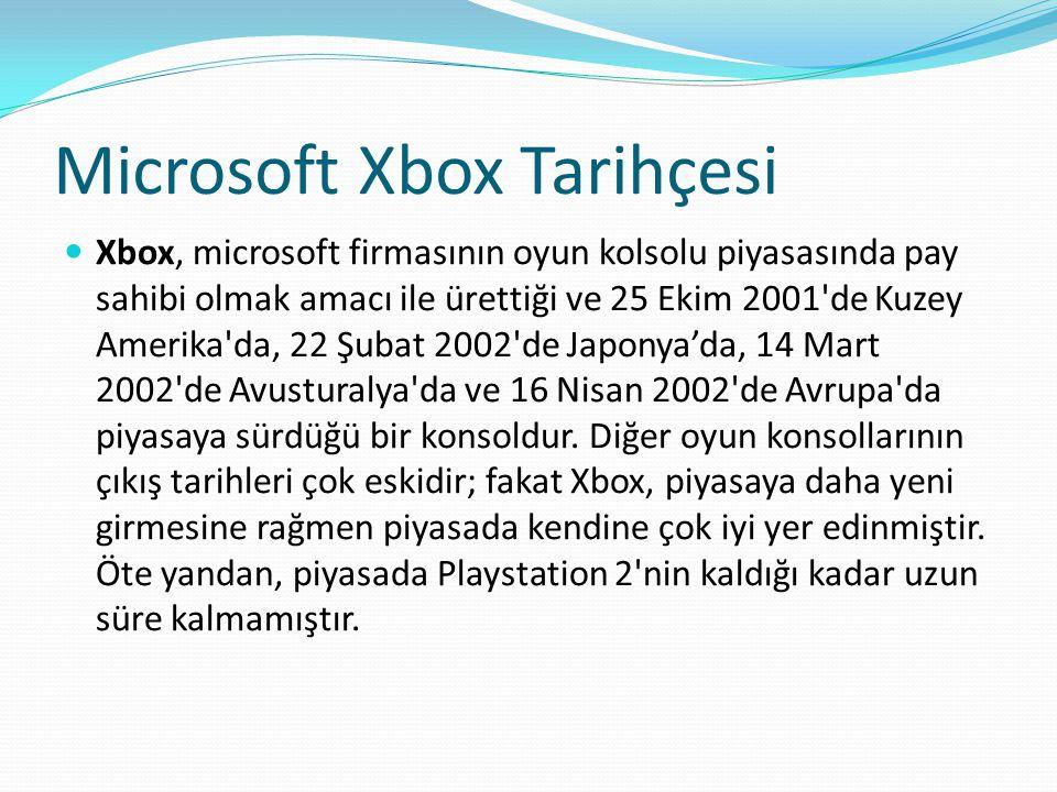Microsoft Xbox Tarihçesi Xbox, microsoft firmasının oyun kolsolu piyasasında pay sahibi olmak amacı ile ürettiği ve 25 Ekim 2001 de Kuzey Amerika da, 22 Şubat 2002 de Japonya'da, 14 Mart 2002 de Avusturalya da ve 16 Nisan 2002 de Avrupa da piyasaya sürdüğü bir konsoldur.