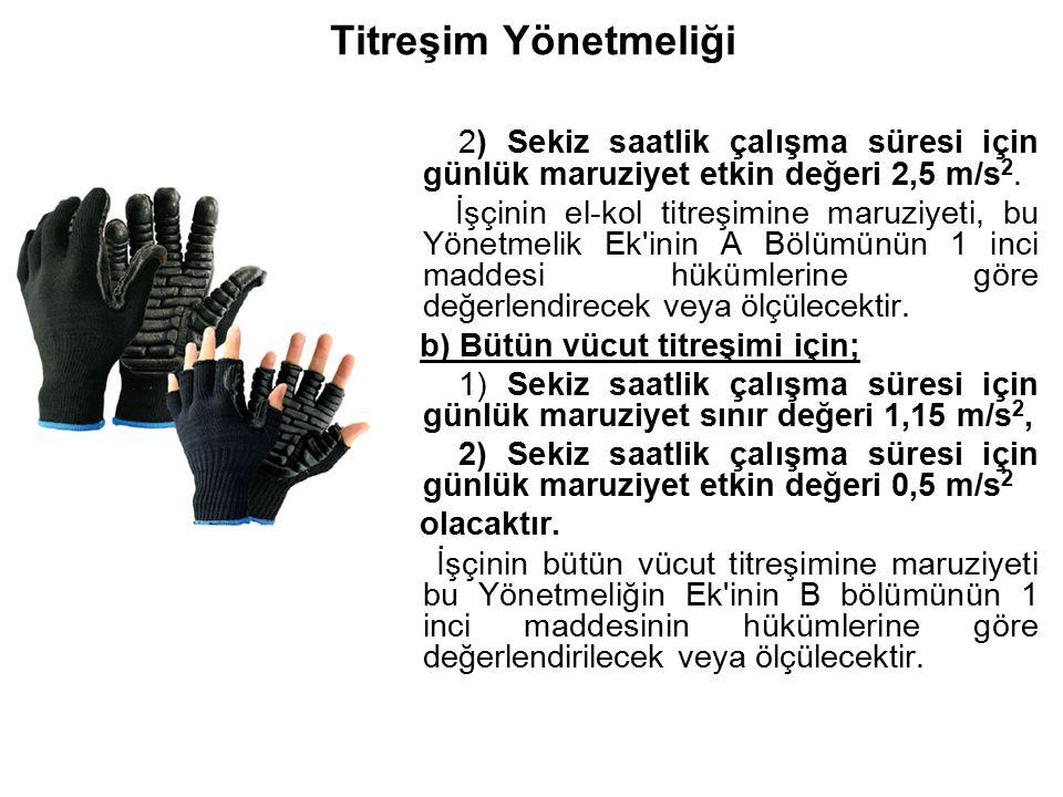 Titreşim Yönetmeliği 2) Sekiz saatlik çalışma süresi için günlük maruziyet etkin değeri 2,5 m/s 2. İşçinin el-kol titreşimine maruziyeti, bu Yönetmeli