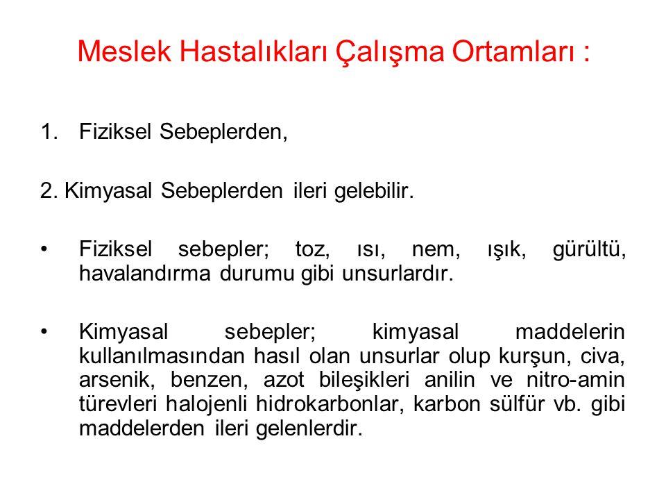 MESLEK HASTALIKLARI Türkiye 'de meslek hastalıkları ile ilgili elde edilen veriler sadece Sosyal Güvenlik Kurumu istatistikleriyle sınırlıdır.
