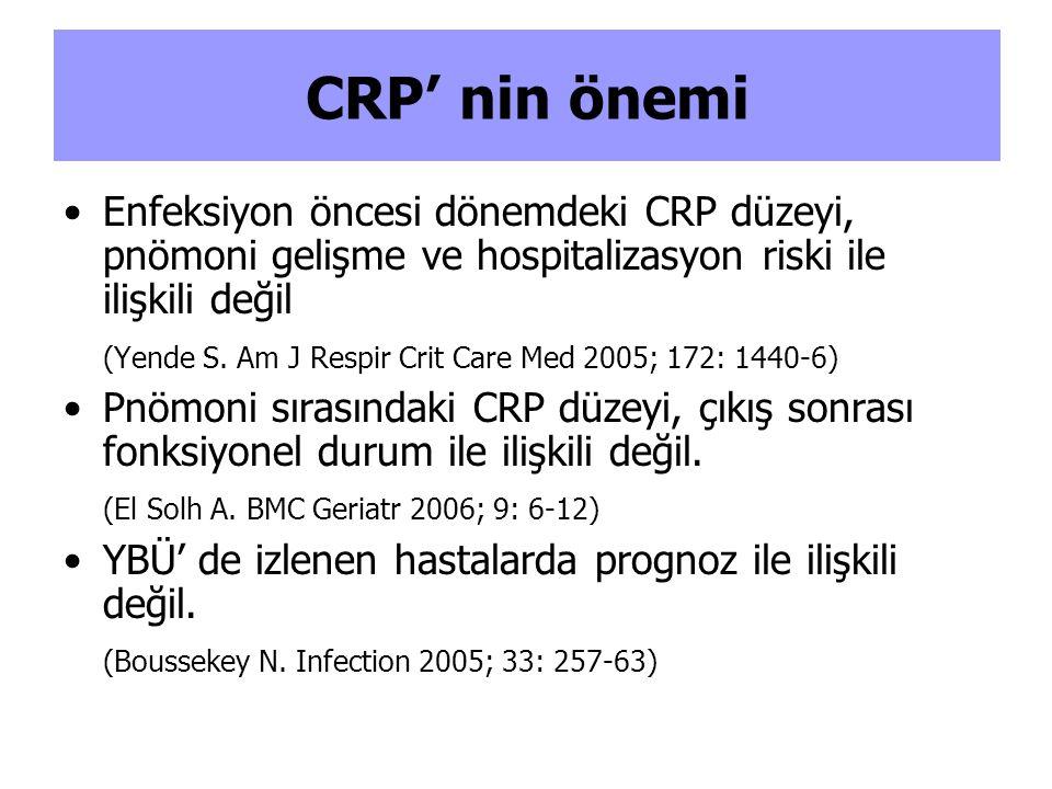 Enfeksiyon öncesi dönemdeki CRP düzeyi, pnömoni gelişme ve hospitalizasyon riski ile ilişkili değil (Yende S.