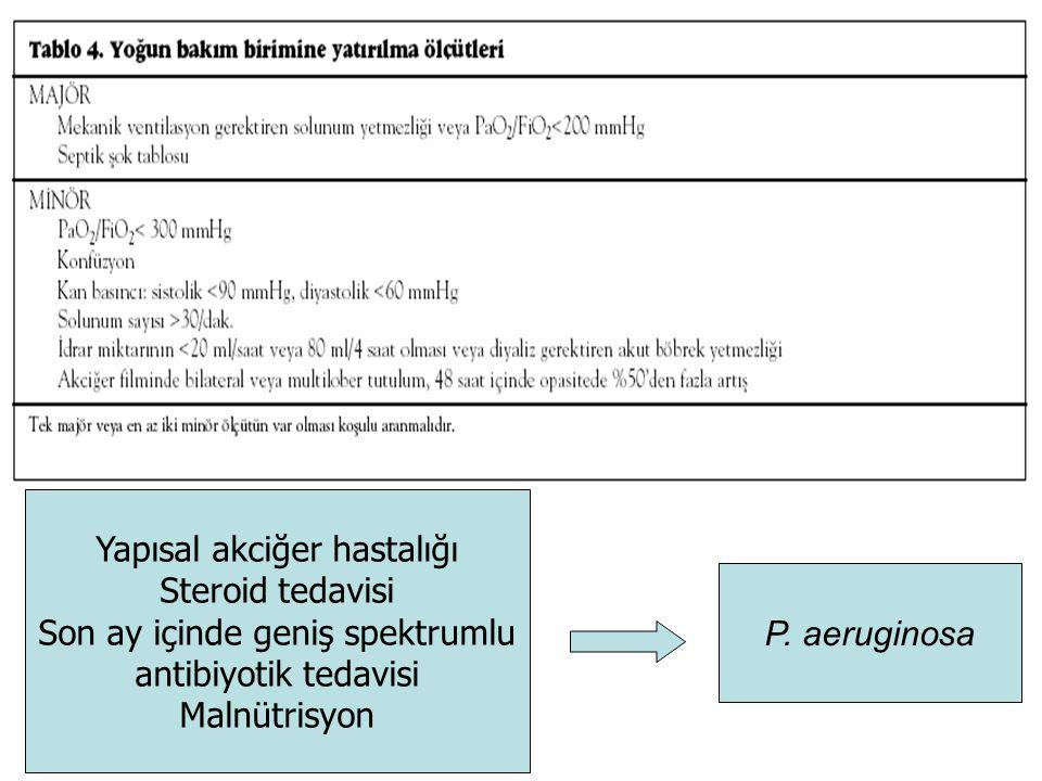 Yapısal akciğer hastalığı Steroid tedavisi Son ay içinde geniş spektrumlu antibiyotik tedavisi Malnütrisyon P.