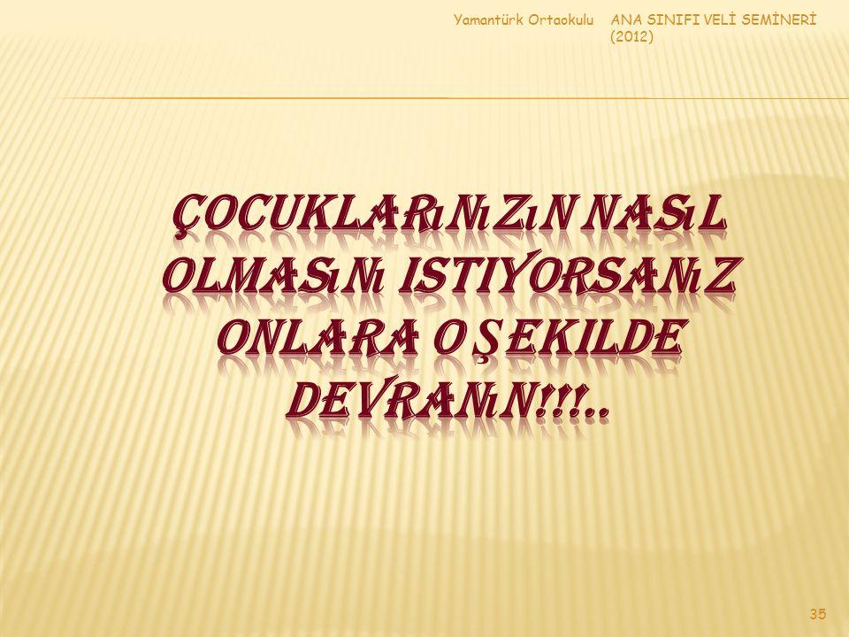 ANA SINIFI VELİ SEMİNERİ (2012) Yamantürk Ortaokulu 35