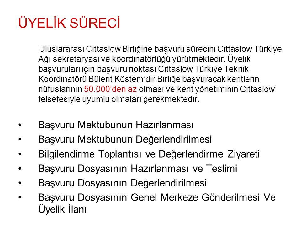 ÜYELİK SÜRECİ Uluslararası Cittaslow Birliğine başvuru sürecini Cittaslow Türkiye Ağı sekretaryası ve koordinatörlüğü yürütmektedir. Üyelik başvurular