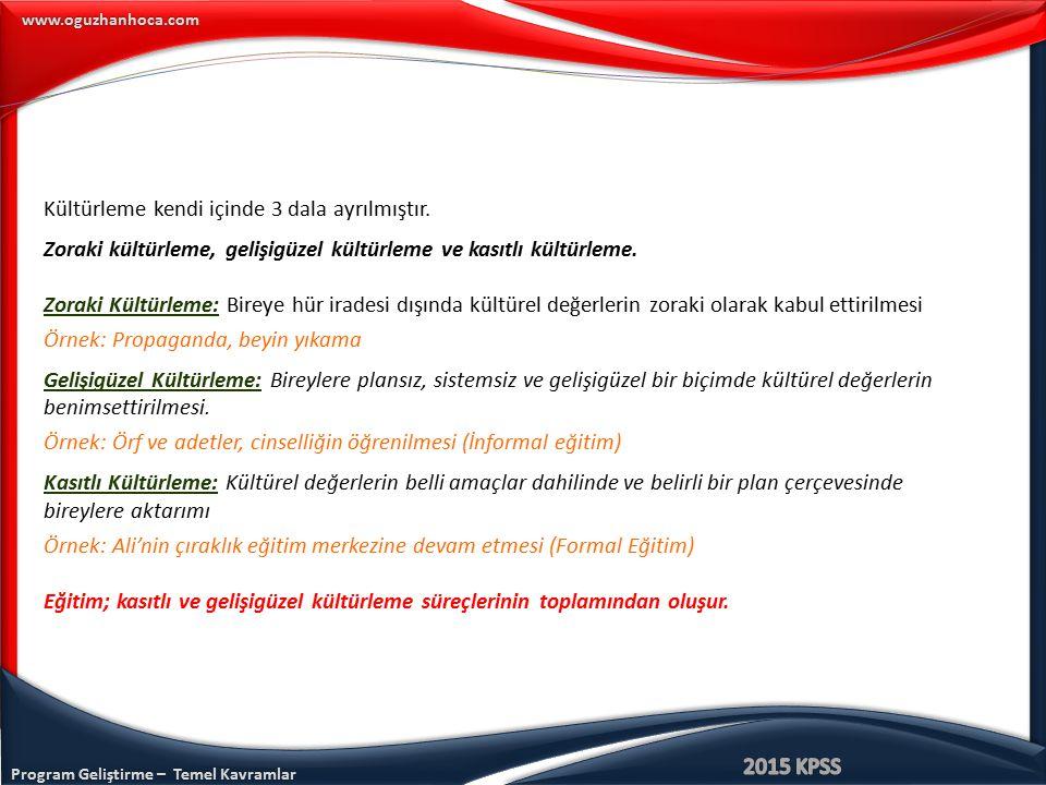 Program Geliştirme – Temel Kavramlar www.oguzhanhoca.com Kültürleme kendi içinde 3 dala ayrılmıştır. Zoraki kültürleme, gelişigüzel kültürleme ve kası