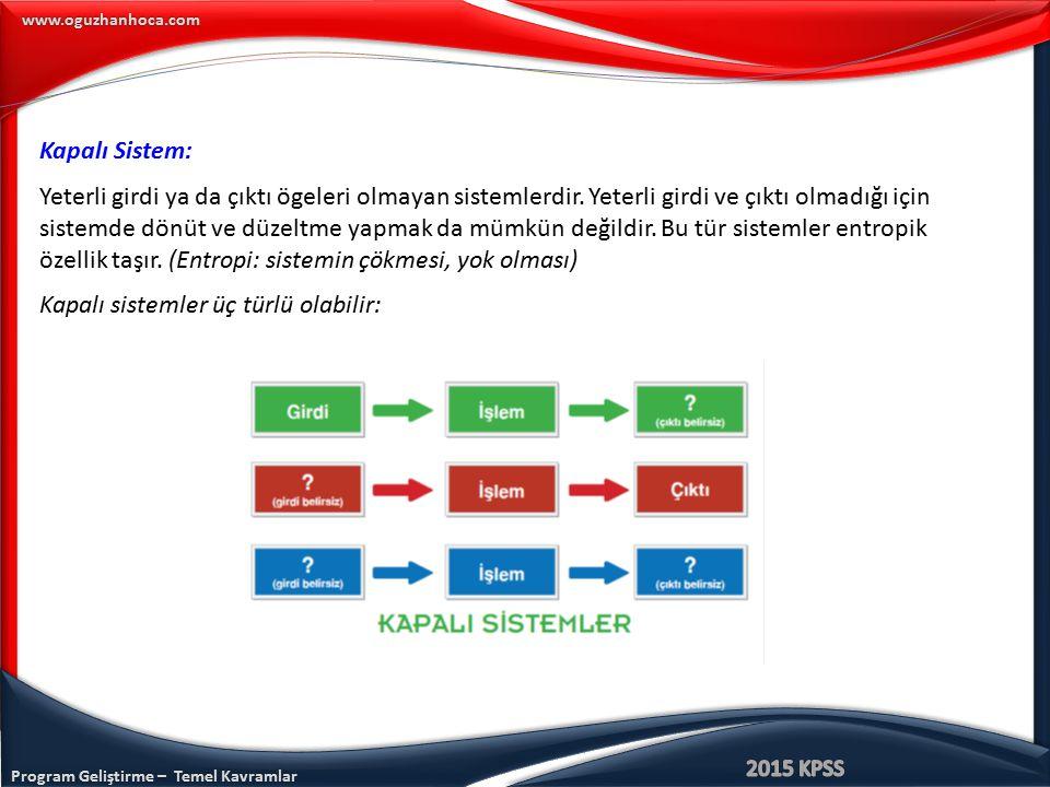 www.oguzhanhoca.com Kapalı Sistem: Yeterli girdi ya da çıktı ögeleri olmayan sistemlerdir. Yeterli girdi ve çıktı olmadığı için sistemde dönüt ve düze