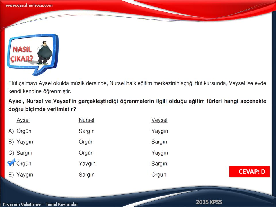 www.oguzhanhoca.com CEVAP: D