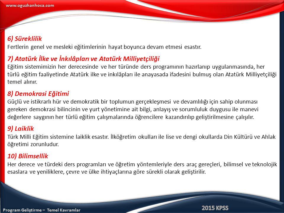Program Geliştirme – Temel Kavramlar www.oguzhanhoca.com 6) Süreklilik Fertlerin genel ve mesleki eğitimlerinin hayat boyunca devam etmesi esastır. 7)
