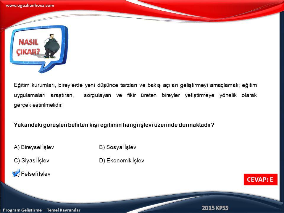 www.oguzhanhoca.com CEVAP: E CEVAP: E Eğitim kurumları, bireylerde yeni düşünce tarzları ve bakış açıları geliştirmeyi amaçlamalı; eğitim uygulamaları
