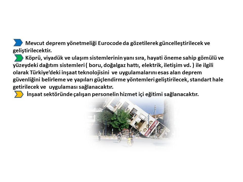 Mevcut deprem yönetmeliği Eurocode da gözetilerek güncelleştirilecek ve geliştirilecektir.