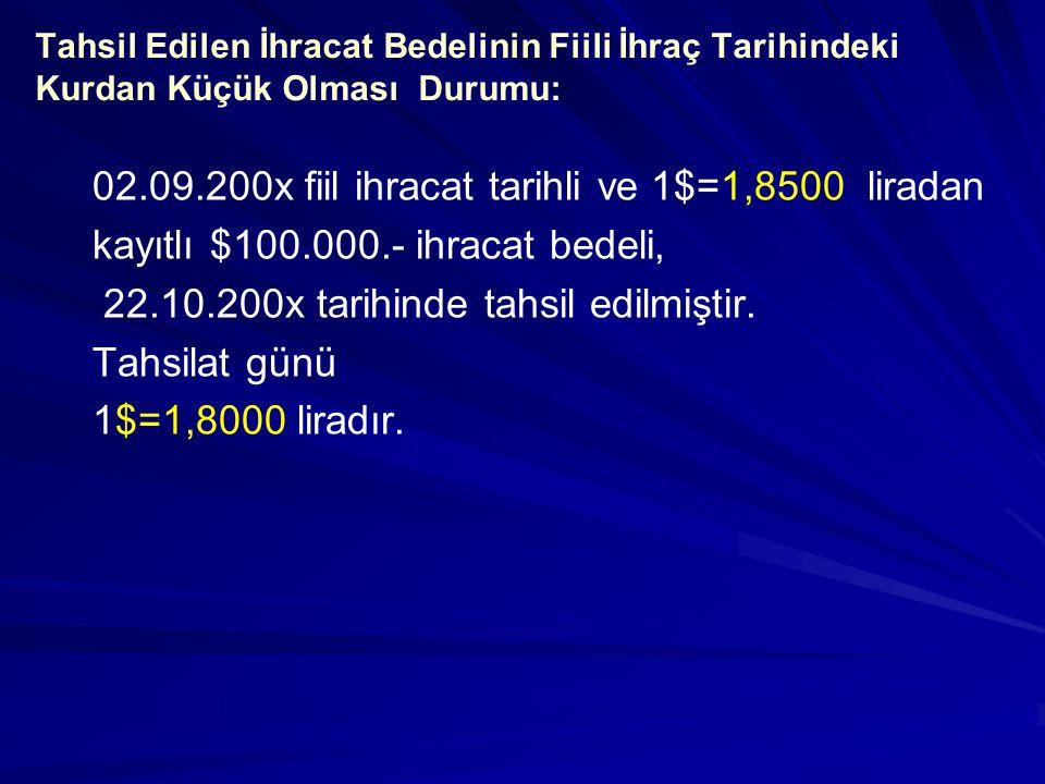 DAB belgesi ile tahsil edilen ihracat bedelinin, Türk Lirasına çevrilerek Ticari (TL) Mevduat Hesabına aktarılması: 22.10.201xBorçAlacak 102. BANKALAR