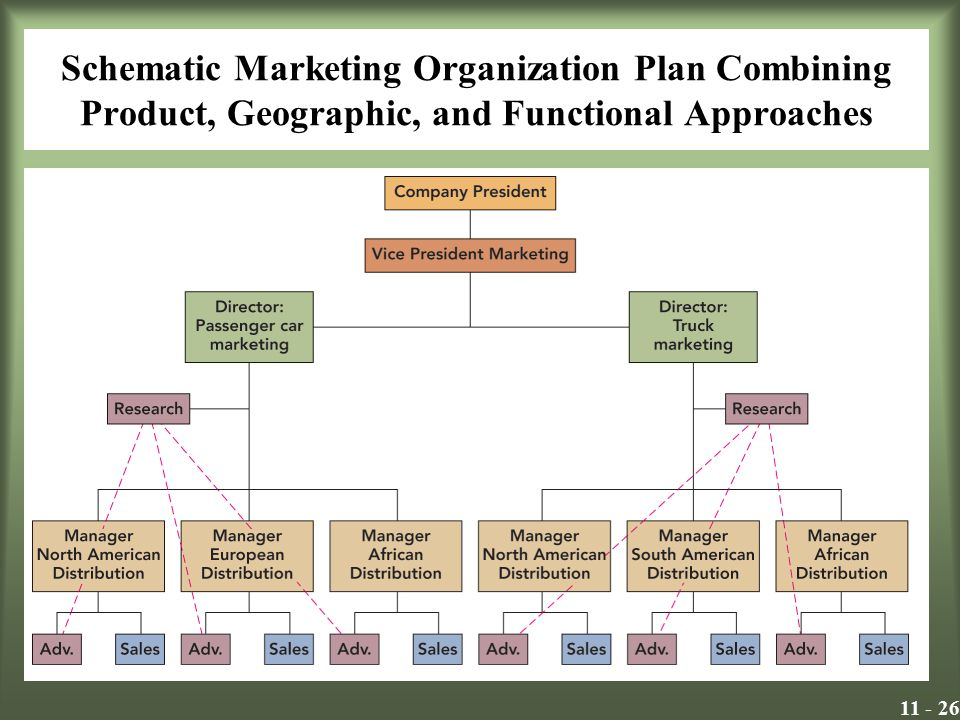 11 - 26 Schematic Marketing Organization Plan Combining Product, Geographic, and Functional Approaches Insert Exhibit 11.4