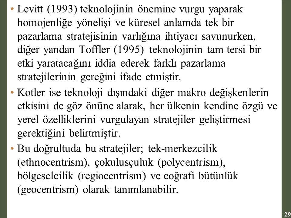 11 - 29 Levitt (1993) teknolojinin önemine vurgu yaparak homojenliğe yönelişi ve küresel anlamda tek bir pazarlama stratejisinin varlığına ihtiyacı sa