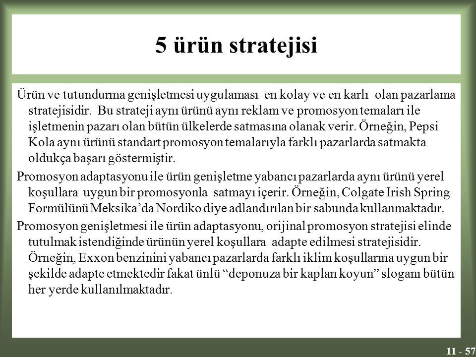 11 - 57 5 ürün stratejisi Ürün ve tutundurma genişletmesi uygulaması en kolay ve en karlı olan pazarlama stratejisidir. Bu strateji aynı ürünü aynı re