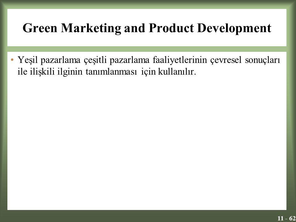 11 - 62 Green Marketing and Product Development Yeşil pazarlama çeşitli pazarlama faaliyetlerinin çevresel sonuçları ile ilişkili ilginin tanımlanması