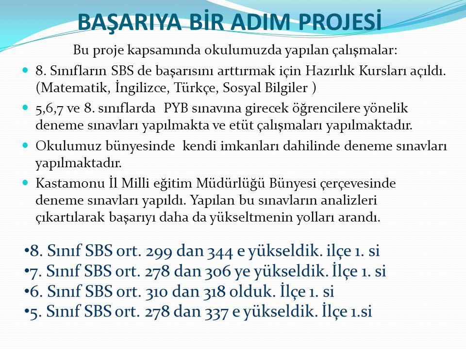 BAŞARIYA BİR ADIM PROJESİ Bu proje kapsamında okulumuzda yapılan çalışmalar: 8. Sınıfların SBS de başarısını arttırmak için Hazırlık Kursları açıldı.