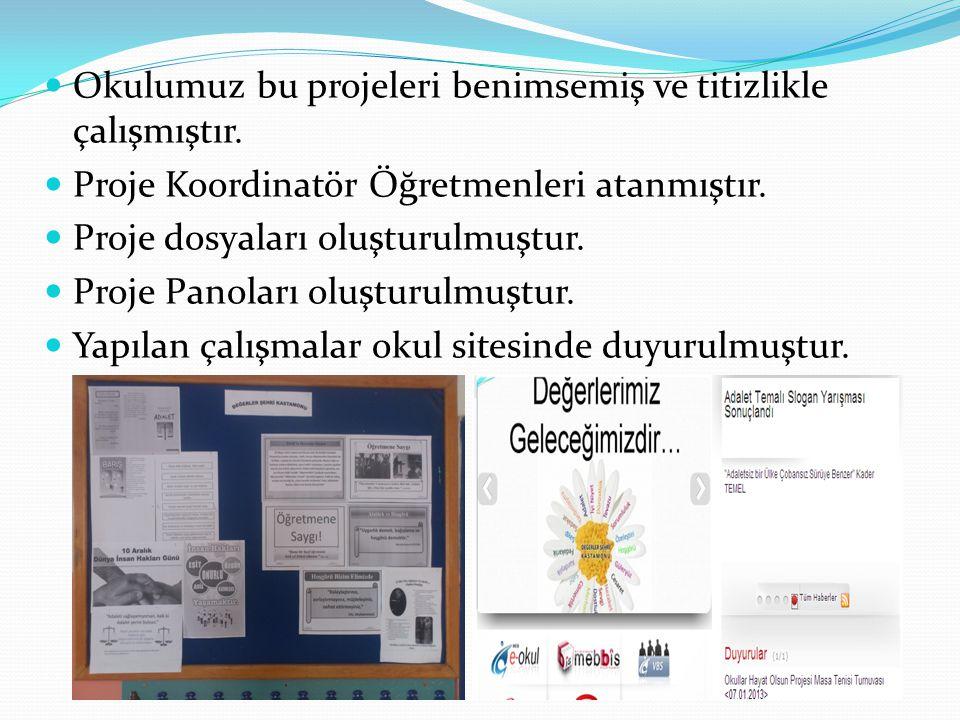 Okulumuz bu projeleri benimsemiş ve titizlikle çalışmıştır. Proje Koordinatör Öğretmenleri atanmıştır. Proje dosyaları oluşturulmuştur. Proje Panoları
