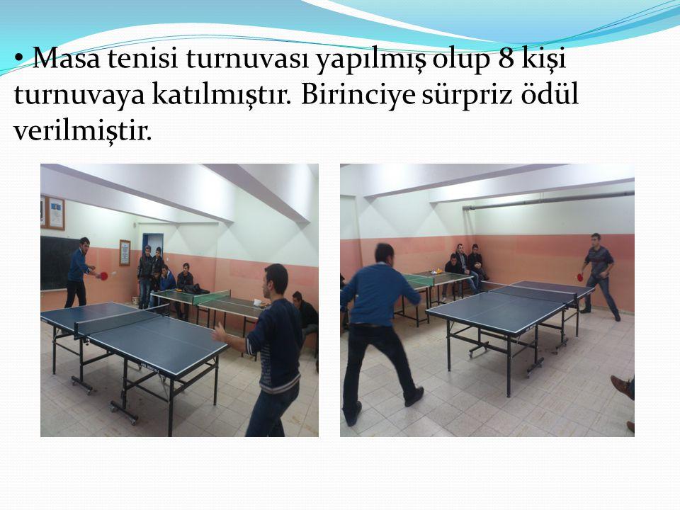 Masa tenisi turnuvası yapılmış olup 8 kişi turnuvaya katılmıştır. Birinciye sürpriz ödül verilmiştir.
