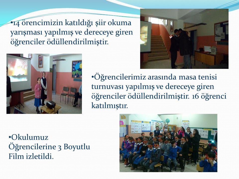 14 örencimizin katıldığı şiir okuma yarışması yapılmış ve dereceye giren öğrenciler ödüllendirilmiştir. Öğrencilerimiz arasında masa tenisi turnuvası