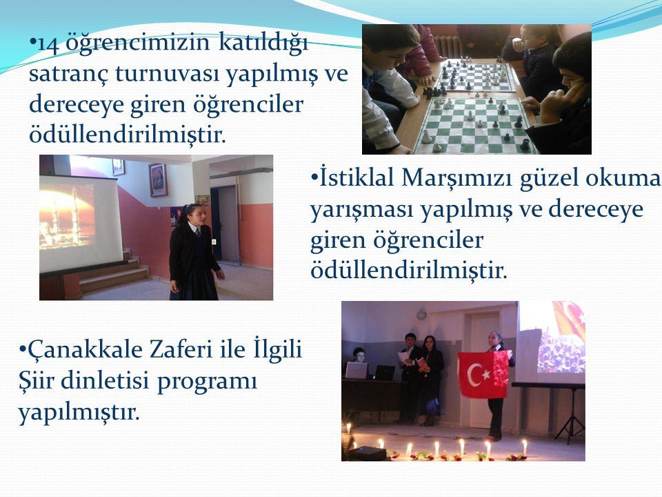 14 öğrencimizin katıldığı satranç turnuvası yapılmış ve dereceye giren öğrenciler ödüllendirilmiştir. İstiklal Marşımızı güzel okuma yarışması yapılmı