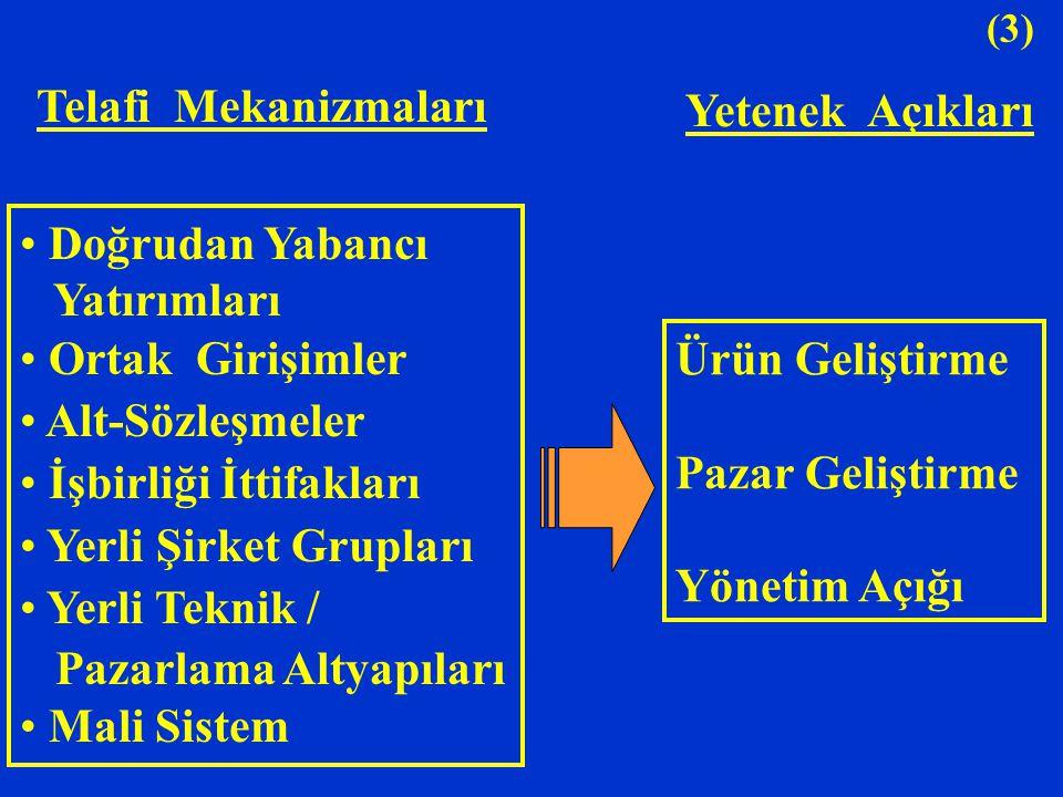 (3) Doğrudan Yabancı Yatırımları Ortak Girişimler Alt-Sözleşmeler İşbirliği İttifakları Yerli Şirket Grupları Yerli Teknik / Pazarlama Altyapıları Mal