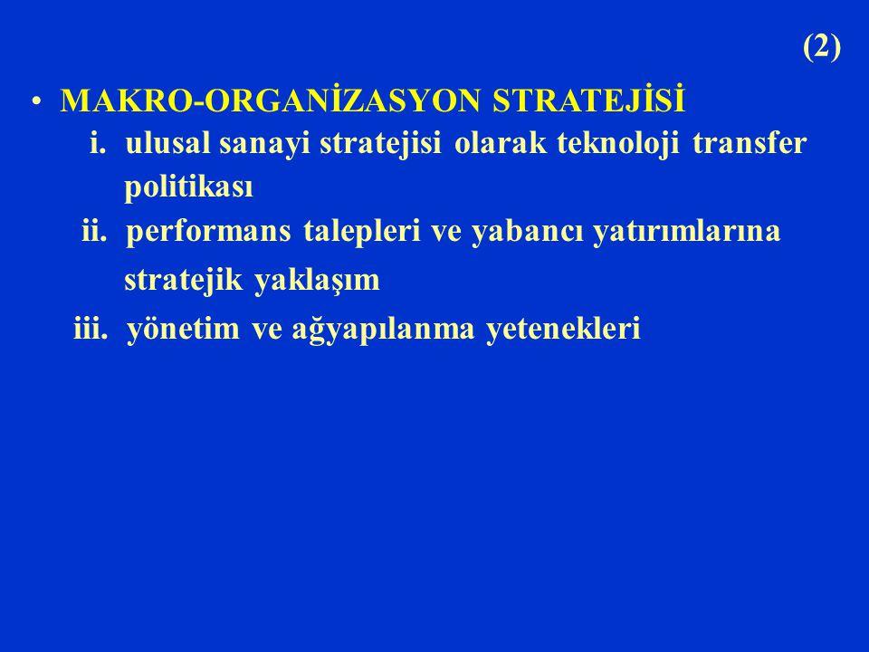 (2) MAKRO-ORGANİZASYON STRATEJİSİ i. ulusal sanayi stratejisi olarak teknoloji transfer politikası ii. performans talepleri ve yabancı yatırımlarına s