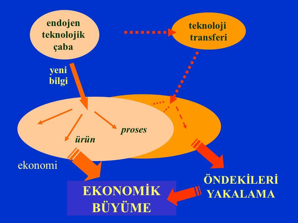 endojen teknolojik çaba yeni bilgi EKONOMİK BÜYÜME teknoloji transferi ÖNDEKİLERİ YAKALAMA … ürün proses ekonomi